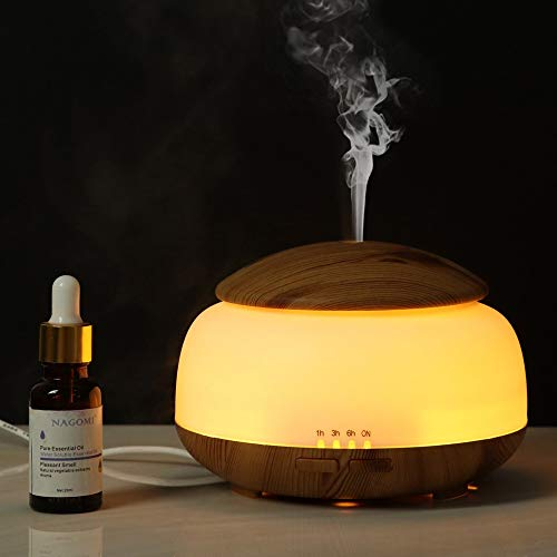 Kotee Wood Grain Diffuser Air Humidifier Essential Oil Air Purifier Night Light Cool Mist Nebulizing Mushroom 300ml Aromatherapy Machine Ultrasonic Atomizer Home Gift Home Office Hotel
