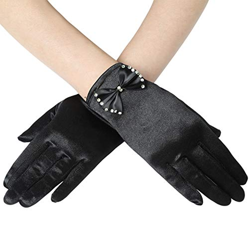 BABEYOND Womens Short Gloves Satin Bowknot Gloves for Wedding Opera Party 1920s flapper Stretchy Gloves Adult Size (Black)