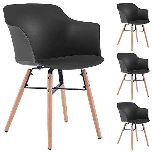 Esszimmerstuhl Izan im 4er Pack, Stühle Esszimmer Küchenstuhl Essstuhl, Kunststoffschale in schwarz, Hölzfüße in Natur