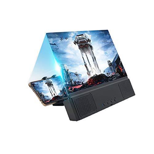 HFXZ2018 La Pantalla del teléfono Lupa con el Sonido Bluetooth, Pantalla de 12 Pulgadas Curvo Lupa de Alta definición, de Carga USB Película proyector de vídeo Apto para Uso Interior, al Aire Libre