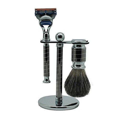 Men's 3 in 1 Shaving Set Kit Badger Shaving Brush Fusion Razor and Metal Stand