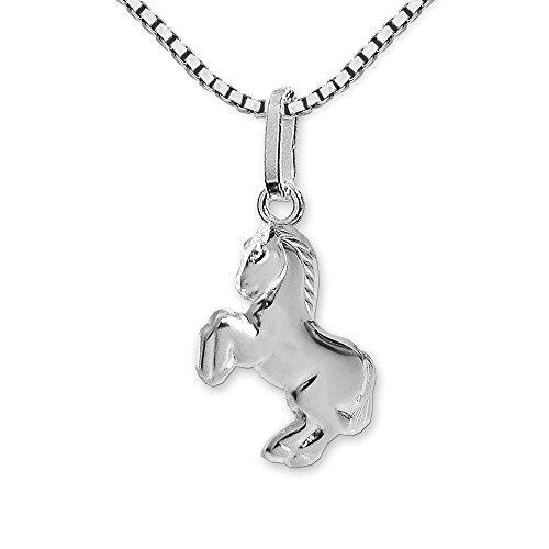 CLEVER SCHMUCK Set Silberner Mädchen Anhänger kleines Pferd 12 mm springend glänzend mit Kette Venezia 38 cm Sterling Silber 925 für Kinder