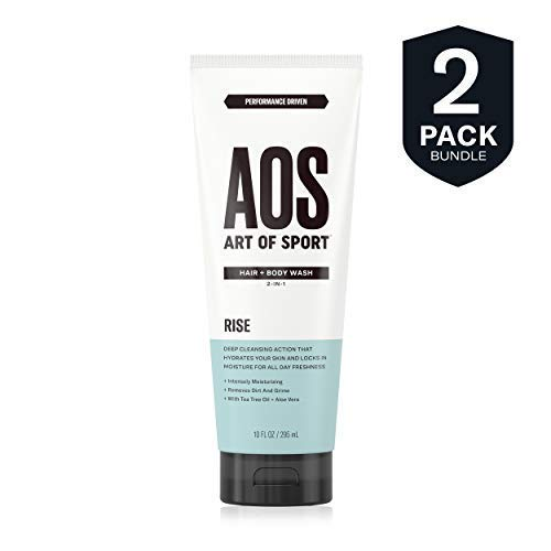 Art of Sport Men's Body Wash with Tea Tree Oil and Aloe Vera, Rise Scent, Dermatologist-Tested, Paraben-Free, Hypoallergenic, Moisturizing Shower Gel (2 pack)