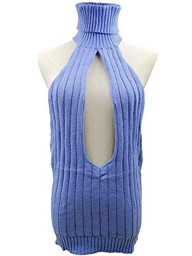 victors shop Damen Sweater im japanischen Stil, offene Brust, Bademode, hoher Hals, sexy, Einheitsgröße, blau, Free Size