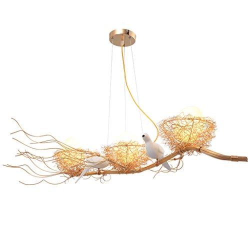 LJF Lampe . Lámpara moderna y creativa, nido de pájaros, chandelier con personalidad, arte de tres cabezas, E27, restaurante, salón, dormitorio, habitación de los niños, hotel, Art Center