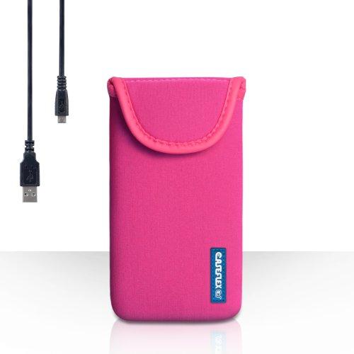 Hülleflex Kompatibel FürWiko Cink Peax 2 Tasche Dunkelrosa Neoprene Beutel Hülle Mit USB-Kabel