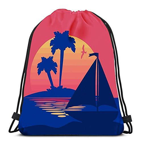 Drawstring Bags Bapa Summer Sunset Palms Bo Travel Bapas Tote School Rusa
