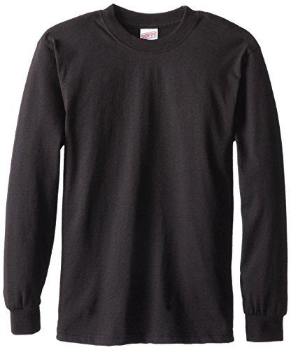 Soffe Big Boys' Long Cotton Sleeve T-Shirt, Black, Small