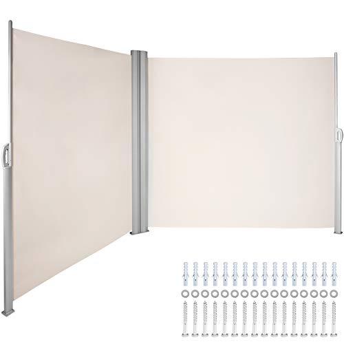 VEVOR Terrassen Windschutz 160 x 600 cm Rollo Seitenmarkise ausziehbar Cremeweiß für den privaten oder gewerblichen Gebrauch