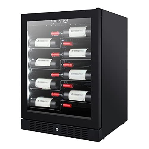VIY Vinoteca Nevera de vinos Refrigerador Bebidas 100 litros 40 Botellas estándar 4 Estantes Control Touchpad 1 Zonas Temperatura 5-22°C Doble Cristal