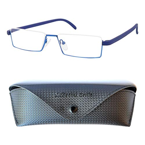 Mini Brille Flex Brille - Leichte & Flexible Halbbrille Lesebrille, Edelstahl Rahmen (Blau), GRATIS Brillenetui, Lesehilfe Herren und Damen +1.5 Dioptrien