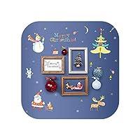 子供のウォールステッカー 漫画クリスマスウォールステッカーメリークリスマスサンタエルクツリー雪だるまショーケースウィンドウドア背景年壁ステッカー-
