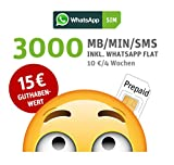 WhatsApp SIM Prepaid [SIM, Micro-SIM, Nano-SIM] - Starterpaket mit 15 EUR Guthabenwert, ohne Vertragsbindung, Option mit 3000 Einheiten (MB/MIN/SMS), Surf-Geschwindigkeit: 21,6 MBit/s LTE