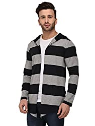Rigo Black and Grey Stripe Hooded Open Long Cardigan Full Sleeve Shrug For Men