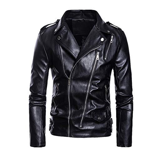Chaqueta de cuero para hombre con cremallera, chaqueta para motocicleta, tallas grandes