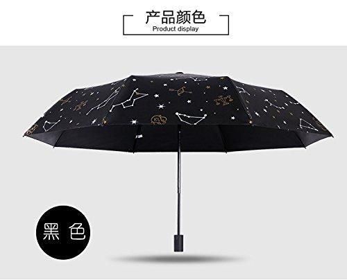 Viajes Umbrella Real Madera Handle Auto Abierto Close Paraguas De Plástico Negro Creativo Constelación Paraguas De Tres Secciones Paraguas Plegable, Negro, Manual