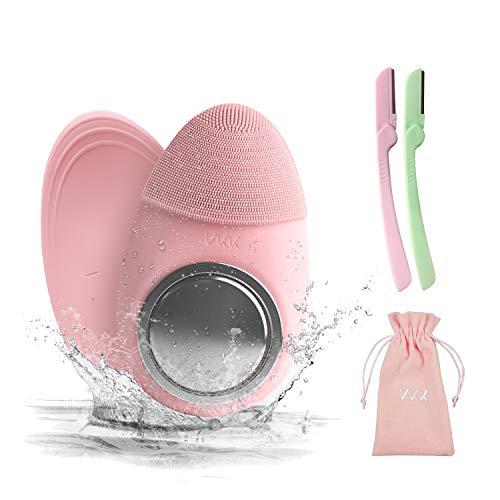 VKK Limpiador Facial Silicona Electrico,Cepillo Limpieza Facial Ultrasonico Masajeador,Rosa