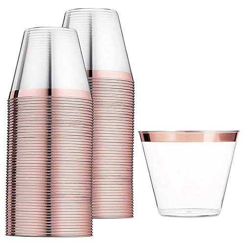 wivarra Vasos de PláStico de Oro Rosa Vaso Desechable de 9 Oz...