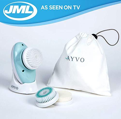 JML Ayvo - Cepillo facial eléctrico 3 en 1, exfoliante, limpiador e hidratante, limpia todos los tipos de piel