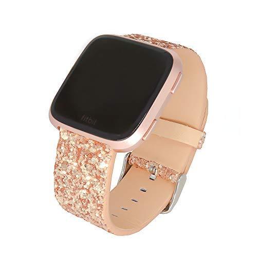 SUNEVEN Ersatz-Armband für Fitbit VersaVersa 2/Versa Lite, Glitzer-Armband aus Leder für Damen, glitzerndes Armband für Smartwatch Fitbit Versa, Roségold