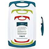 SKERITO Chopping Board Set, BPA Free Plastic Kitchen Cutting Boards with Non-Slip Feet and Deep Drip Juice Groove
