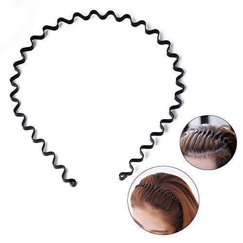 Price comparison product image S SIFUNUO Unisex Black Spring Wavy Metal Hair Hoop Band Men Women Sports Headband Headwear Accessories