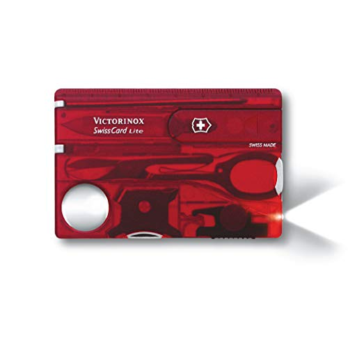 Victorinox Taschenmesser Swiss Card Lite (13 Funktionen, LED-Licht, Lupe) rot transparent