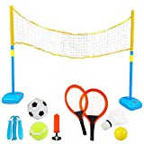 deAO 4-IN-1 Outdoor Games Tennis Football Skipping Badminton Racket Sport Center for Kids Includes Net, Rackets and Much More