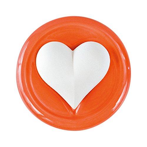 Objeto decorativo aromático, cerámica perfumada Corazón bombeante /sublime con platillo esmaltado en rojo, Ø 9,5 cm