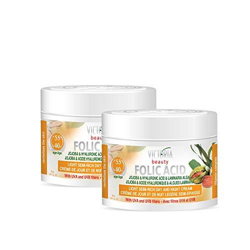 Victoria Beauty - Hyaluron Creme mit Folsäure gegen Falten und Augenringe, straffende Gesichtscreme mit Jojobaöl und Hyaluronsäure für Frauen und Männer ab 40 (2 x 50 ml)