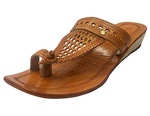 Step n Style Kolhapuri Sandali Kolhapuri Pantofole Donna Sandali Indiani Kolhapuri Chappals Kolhapuri Slipper, Giallo (Senape), 36.5 EU