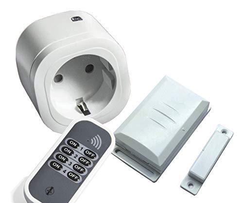 Intertechno Funk Abluftsteuerung 3000W Power Stecker IT-3000, Handsender, Fensterkontakt Schalter DFM-1000 mit Anschlussmöglichkeit für Externkontakte