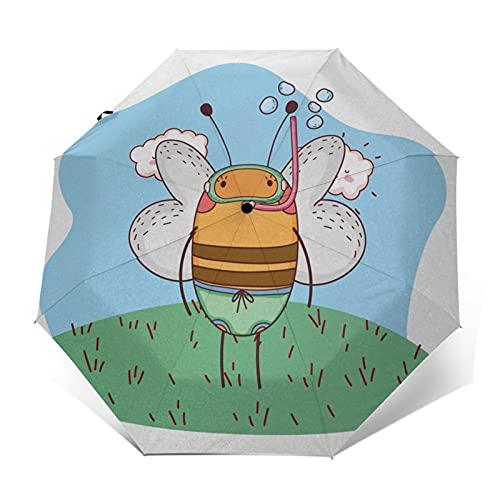 Regenschirm Taschenschirm Kompakter Falt-Regenschirm, Winddichter, Auf-Zu-Automatik, Verstärktes Dach, Ergonomischer Griff, Schirm-Tasche, Zeichentrickfigur, die Schnorchel trägt