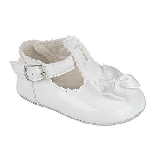 Baby Pram Schuhe für eine Hochzeit Taufe oder Party - T-Bar Satinschleife Weiß Patent EU 19 (12-18 monate)