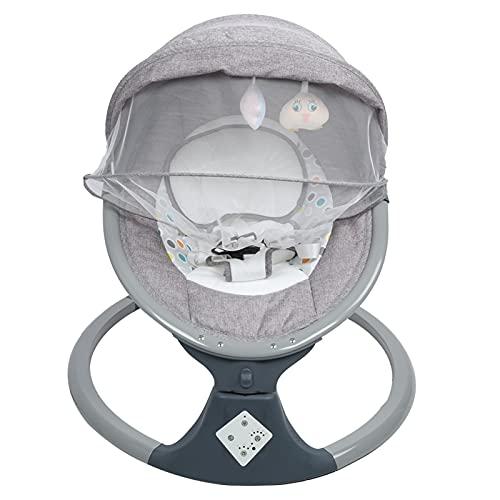 Hamaca para Bebé Electrica, Mecedora Infantil con 8 Melodías de Música y 5 Rangos de Oscilación, Función de Temporización(Gris)