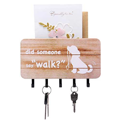 Key Holder for Wall Mounted Mail Sorter Organizer with 5 Key Hooks,Wall Decorative Key Rack Hangers for Entryway, Storage, Living Room, Hallway, Office (White)