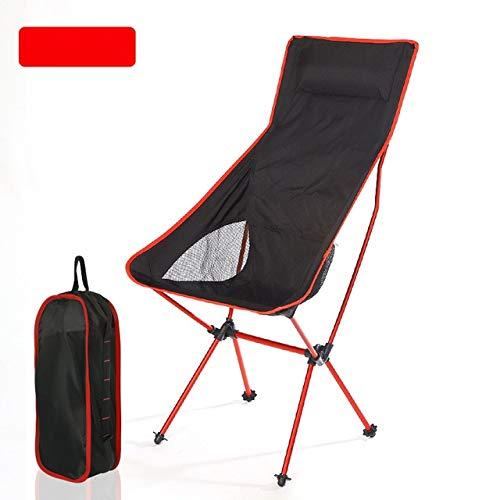 Sedia da campeggio pieghevole ultraleggera per esterni, picnic, escursionismo, viaggio, tempo libero, zaino, pieghevole, spiaggia, luna, sedia, pesca, portatile, rosso