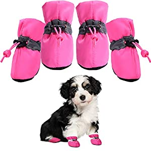 Dog Boots Anti-Slip Shoes pet Paw Protector for Small Medium Dogs and Puppies Summer Hot Pavement 4PCS (Pink/5)