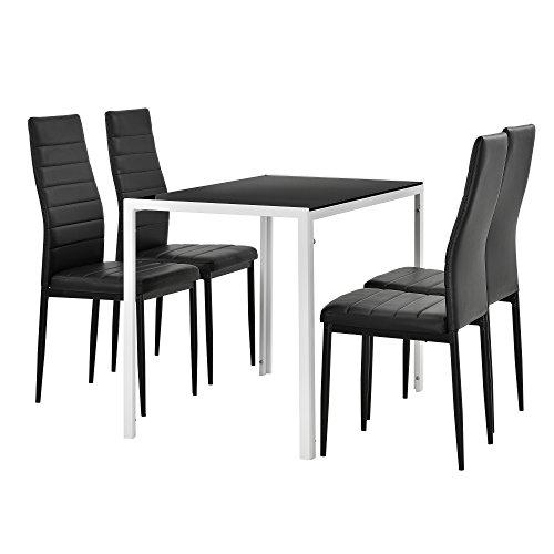 [en.casa] Moderner Esstisch Schwarz/weiß 4er Stuhlset Schwarz