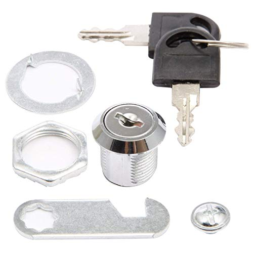 Loboo Idea Tubular Cam Lock with 25mm Cylinder and Zine-Alloy Finish, Replaceable File Cabinet Lock with 2 Keys for Door Mailbox Drawer Tool Box (4 Pack) (20mm Drawer Lock)