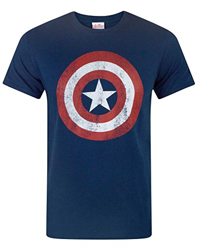 Marvel Avengers Herren Captain America T-shirt, Blau, L
