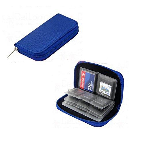 Caja de Almacenamiento de Tarjeta de Memoria. Cartera Protectora Impermeable. 22 Máquinas Tragamonedas. (Azul)