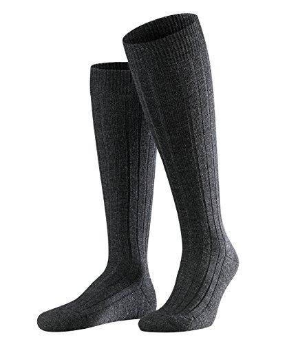 FALKE Herren Kniestrümpfe Teppich im Schuh - Merinowollmischung, 1 Paar, Grau (Anthracite Melange 3080), Größe: 45-46