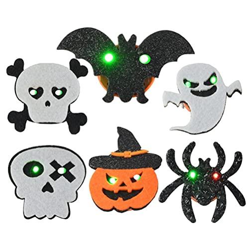 TBEONE Halloween-Brosche, 6 Stück, leuchtende LED-Geister, Fledermaus, Kürbis-Broschen für Rucksäcke, Kleidung, Taschen, Jacken, Halloween-Partygeschenke, Dekorationen