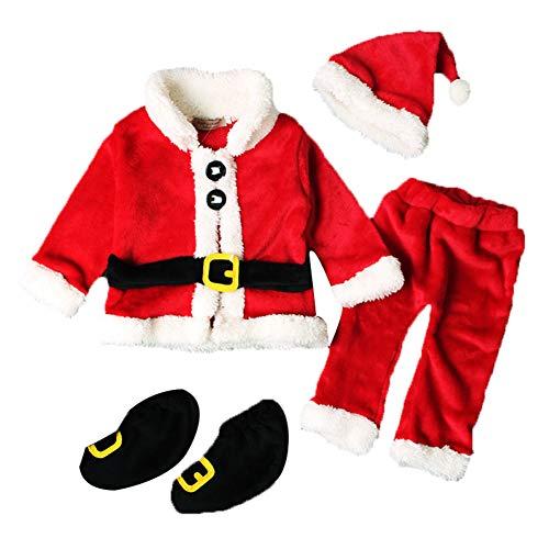 Geagodelia Set di Babbo Natale per Neonato Unisex 4PCS Maglietta a Maniche Lunghe + Pantaloni + Cappello + Scarpe 0-3 Anni Completini Natalizi (Rosso, 6-9 Mesi)