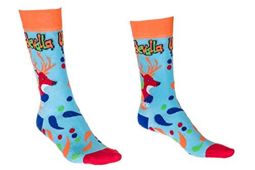 Joan und Fredric Design Socks - Uddevalla - Fun Turquoise Fashion Socks with Uddevalla Motive (41-46)