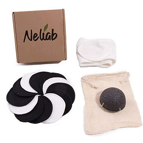 Neliab 12 Discos Desmaquillantes Reutilizables Bambu Ecologicos con Bolsa Lavables, Esponja Konjac, Felpa Algodon | Toallitas Suaves Ideales para Limpieza facial