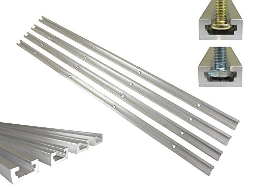 Lot 4 Each, 48' Aluminum T Track 3/4' by 3/8' Slot, Accepts 1/4' Hex Bolts, 1/4' or 5/16' T Bolts, Countersunk Holes Every 6' 112134