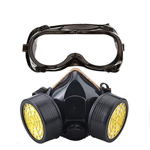 Ewolee Atemschutzmaske Aktivkohle chemikalien Staubschutz Lackierer Maske mit Schutzbrille, Schwarz