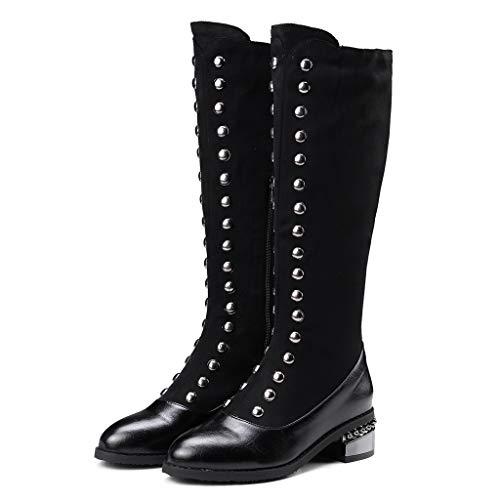 MOTOCO Damen Overknee Stiefel Frauen Coole Metall Dekoration Socken Stiefel Fashion Thick High Boots(41 EU,Schwarz)